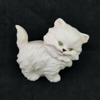 VTG 1980 White Cat Ceramic Figurine Hand Painted Long-Haired Persian Green Eyes