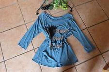 SAHNESTÜCK: TRAUM Motiv Stretch Shirt 42/44 6 NEU! blau grau Pailletten Stretch