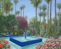 "NEW ORIGINAL RICHARD HARPUM MA  ""Le Jardin Majorelle Marrakech Morocco"" PAINTING"