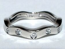 Amazing ZIG-ZAG 14K White Gold Ring Diamond Anniversary Wedding Band Size 6