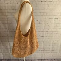 HELEN KAMINSKI Crocheted Raffia Straw Bucket Sling Shoulder Bag Tan Natural