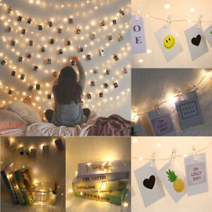 20-100 LED Hanging Picture Photo Peg Clip Fairy String Light Wedding Party Decor
