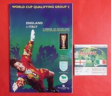 ENGLAND V ITALY 1997 PROGRAMME + MATCH TICKET * WORLD CUP QUALIFIER * WEMBLEY