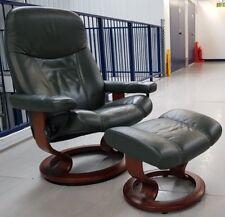 Ekornes Stressless Leather swivel recliner  chair and footstool Medium