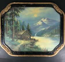 Vintage 1930s William Thompson Lithograph Our Beautiful Mountain Camp 22.5x18.5