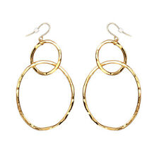 Bita Pourtavoosi Handmade 24k Gold Plated Trendy Dangle Hammered 2 Hoop Earrings
