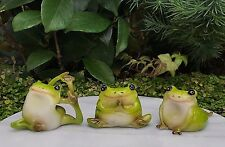 Miniature Dollhouse FAIRY GARDEN Frog Figurine ~ Set of 3 Yoga Frogs ~ NEW