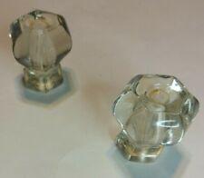 Crystal Glass Drawer Pulls Knobs Handles Vintage Antique 1 1/2x1 3/8  2 pcs