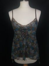TFNC London Brown Blue Lace Floaty Spaghetti Strappy Summer Vest Top (S) 8/10