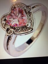 PINK TOPAZ HEART SHAPE STERLING RING WITH WHITE TOPAZ ACCENTS SIZE 7/8/9/10