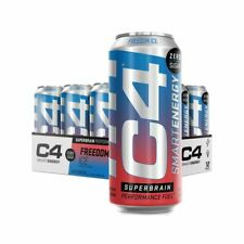 Cellucor C4 Smart Energy SuperBrain Performance Fuel 16 oz, 12 Cans Freedom Ice