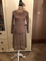 Ladies Gold Semi Sheer Star Design  Ethnic Boho Kaftan Tunic Dress Size 8/10