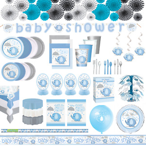Boys Baby Shower Blue Umbrellaphants Decorations Tableware Plates Napkin Banner
