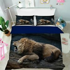 3D Lion Roar S076 Animal Bed Pillowcases Quilt Duvet Cover Set Queen King Sunday