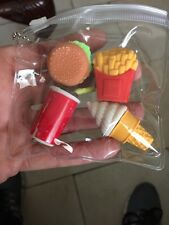 2015 Fashion Cute Kids Fast Food cartoon  Colors Rubber Pencil eraser 4pcs/lot