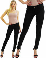 Women's Jeggings Jeans Ladies Self Print Black Skinny Tight Fit Gold Button 8-16