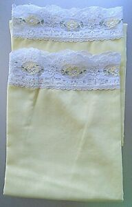 Vintage Floral Yellow Flower Green Leaves Lace Pillow Cases Pair King Size