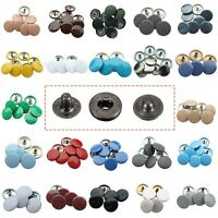 S Spring Gunmetal Press Studs Snap Fasteners 4 Parts Sets with 15mm Color Caps