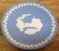 Wedgwood Jasper Blue White Christmas Plate 1969 Windsor Castle No Box Jasperware