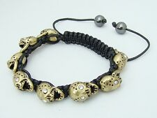 Men's  Shamballa bracelet all gold metal Crystal Skull beads