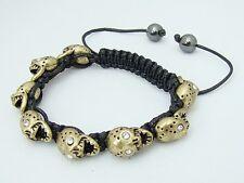 Shamballa Bracelet Hombre todos Metal Oro Cristal Abalorios Calavera