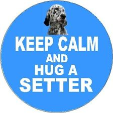 2 English Setter Dog Car Stickers (Keep Calm & Hug) By Starprint