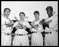 Jackie Robinson Reese Stanky Jorgensen Photo 8X10  Brooklyn Dodgers 1947 Ebbets