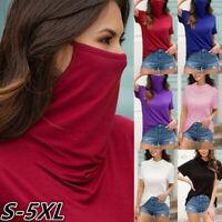 Women Summer T-shirt Casual Hooded Short Sleeve Face mask Tee Tops Blouse NEW