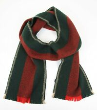 New Gucci Unisex Green/Red Web Wool Scarf with Beige Edge 408419 3174