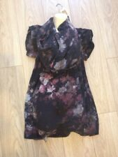 All Saints Night Florals Mini Dress Sz 10 UK Rare 100% Silk Deconstructed Shirt