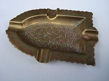 "VINTAGE INLAID BRASS BOAT OR IRON SHAPED ASH TRAY APPROX. 5"" LONG FROM INDIA"
