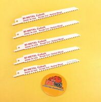"Drill Hog® 6"" Reciprocating Saw Blade COBALT M42 6x6 TPI Sawzall Blade 5 Pcs USA"
