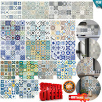 20/24Pcs Moroccan Self-adhesive Tile Wall Floor Sticker Bathroom Kitchen Decor
