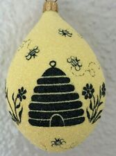 Patricia Breen Ornament - Silhouette Egg. Beeskep. Fully Glittered, Restricted