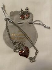 Vivienne Westwood Red Heart Earrings And Necklace
