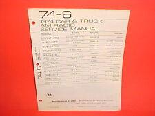 1974 TRIUMPH TR6 JAGUAR XKE MGB MG MIDGET MAZDA MOTOROLA AM RADIO SERVICE MANUAL
