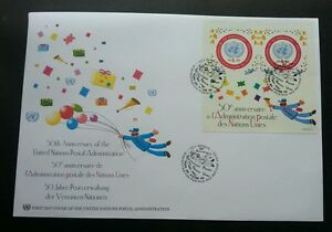 United Nations 50th Anniv Of Postal Administration 2001 Balloon Gift Postman FDC