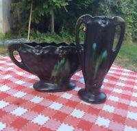 Antique Belgian Pottery Vase Jardinerie Drip Glaze Ceramic Art Nouveau Deco