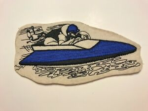 "VINTAGE ORIGINAL 1950'S FELT DRAG BOAT WHITE/BLUE JACKET PATCH  7"" X 3.5"""