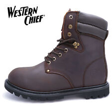 MENS BROWN LEATHER WESTERN CHIEF WIDE-FIT E LACE-UP MILITARY WORK BOOTS UK 7-13