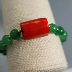 """Women 7"""" Stretch Bracelet  With Red Bamboo Coral, Agate And Gold Filled Spacers"""