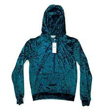 Emma & Sam Hoodie Size S Green Crushed Velvet Sweatshirt Pullover ES-1434-1
