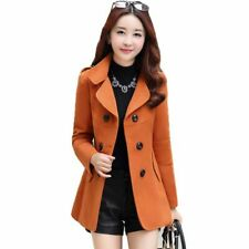 Slim Double Breasted Woolen Coat Autumn Winter Women Medium Long Wool Blend