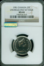 1981 CANADA 25 CENTS NGC MAC MS68 PQ NBU FINEST REGISTRY SPOTLESS USI  *