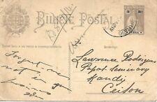 To/From - 1914 -  Portuguese India postcard  to Ceylon