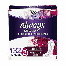 Always Discreet Incontinence Liners Very Light Long Length 132 Count