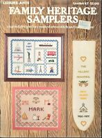 Family Heritage Samplers Cross Stitch Pattern Leisure Arts #67 Wedding Birth