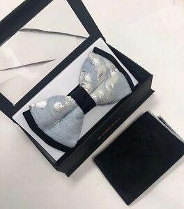 Mens MANZINI TUXEDO BOWTIE NECKTIE With Pocket SQUARE BLUE SILVER BOW TIE NEW