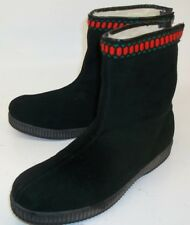 Kurlus Womens Ankle Boots UK5 Black Suede Zip Winter Lined Cold Snow England