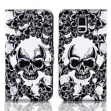 Skull Handy Tasche Samsung Galaxy S5 Sm-g900f Schutz hülle Cover Case Etui 020